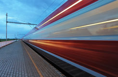 Train in railway at speed Royalty Free Stock Photography