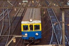 Train railway station. Commuter electric train Railway station Royalty Free Stock Photo
