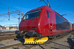Train at the railway station. The train standing at the Halden railway station, waiting for passengers Stock Images