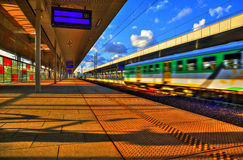 Train at railway station Stock Photos