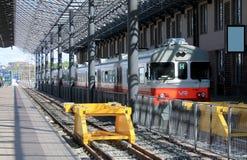 TRAIN ON THE RAILWAY STATION IN HELSINKI Royalty Free Stock Photo