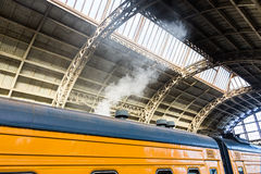 Train at the railway station. Train let pairs at the railway station Stock Photography