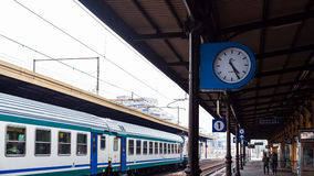Train on railway station in Modena city Stock Image