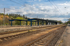Train railway station without people. Old abandoned train railway station in day Stock Photography