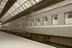 Train on railway station Stock Photography