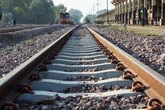 Train at railway station Stock Photo