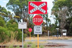 Train railway stop traffic sign Stock Photography