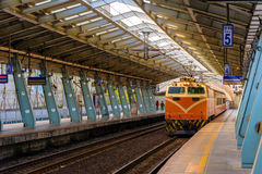 Train on the railway in Taiwan Stock Photography