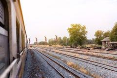 Train and Railway track on steel bridge railway junction Stock Photo