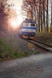 Train on railway tracks in the Czech republic Stock Photo