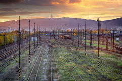 Train railway tracks at sunset, Bratislava Royalty Free Stock Photo