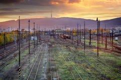 Train railway tracks at sunset, Bratislava Royalty Free Stock Photo