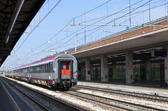 Train in railways station Stock Photo