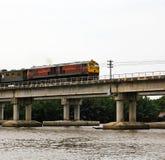 Train ran on bridge Stock Image