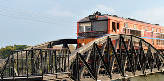 Train ran on bridge on river Kwai Stock Photography