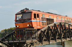 Train ran on bridge on river Kwai Royalty Free Stock Photography
