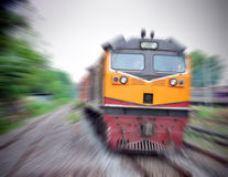 Train rapide avec la tache floue de mouvement photographie stock