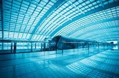 Train rapide d'aéroport moderne à Pékin Photo libre de droits