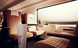 Train rapide de vitesse moderne de carlingue de première classe d'intérieur d'intérieur Personne Brown ne préside la fenêtre Sièg Photographie stock