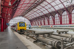 Train ready for departure at Antwerp Central station, Belgium. ANTWERP, BELGIUM - AUG 14: Train ready for departure at Antwerp Central station on August 14, 2015 Stock Image