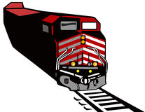 Train red diesel. Vector art of a Retro styled speeding train Stock Images