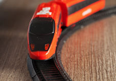 Train. Red toy train running in strict close up Stock Photo