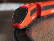 Train. Red toy train running in strict close up Royalty Free Stock Photography
