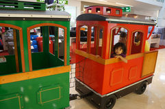 Train. Replica train to be one of the entertainment for the kids in a shopping mall in the city of Solo, Central Java, Indonesia Royalty Free Stock Photo
