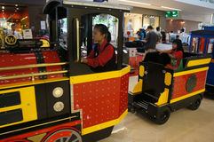 Train. Replica train to be one of the entertainment for the kids in a shopping mall in the city of Solo, Central Java, Indonesia Stock Images
