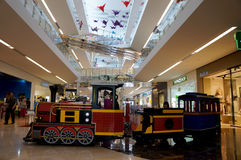 Train. Replica train to be one of the entertainment for the kids in a shopping mall in the city of Solo, Central Java, Indonesia Stock Photography