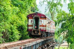 Train is ridden along the mountain. And through the tunnel for tge tourism in Kanchanaburi province of Thailand. It is named Romantic railway Royalty Free Stock Images