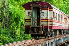 Train is ridden along the mountain. And through the tunnel for tge tourism in Kanchanaburi province of Thailand Royalty Free Stock Images