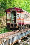 Train is ridden along the mountain. And through the tunnel for the tourism in Kanchanaburi province of Thailand Royalty Free Stock Photography