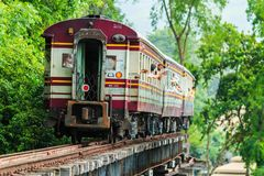 Train is ridden along the mountain. And through the tunnel for the tourism in Kanchanaburi province of Thailand Royalty Free Stock Photos