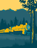 Train Ride. Vintage looking illustration of a train going through the mountains Stock Image