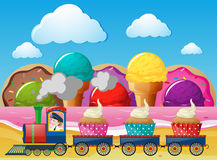 Train ride with cupcakes in wonderland. Illustration Royalty Free Stock Image