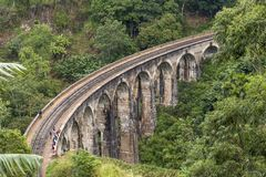Nine Arches bridge in hill country of Sri Lanka. The train ride through hill country from Kandy to Ella is one of the most beautiful travels by train in the Royalty Free Stock Image