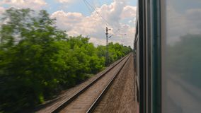 Train ride looking out. The window stock footage