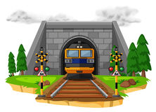 Train ride on the railroad. Illustration Royalty Free Stock Photos