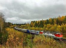 Train ride on the railway stock photo
