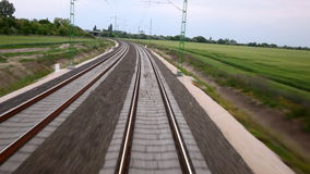 Train. Ride on the railway track stock video