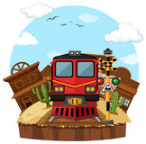 Train ride to the western town. Illustration Royalty Free Stock Image