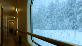 Train Ride through a Winter Forest. Shot of the empty train car. For the icy window, winter forest runs quickly stock video