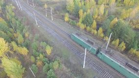 Train rides through an autumn forest on the horizon you can see the city. Train rides on the stretch around the autumn forest. Russia, aerial view stock video footage