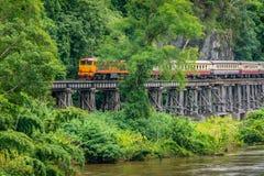 Train rides on Burma railway in Kanchanaburi province, Thailand royalty free stock image