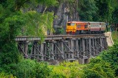 Train rides on Burma railway in Kanchanaburi province, Thailand stock image