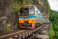Train rides on Burma railway in Kanchanaburi province, Thailand royalty free stock photos