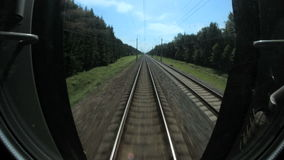 Train rides in forest, view from the driver`s cab. Full HD stock footage