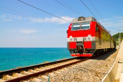 Train rides over Black Sea Stock Image