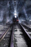 Train rides over the bridge. Photomanipulation royalty free stock images